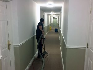 Hotel carpet being cleaned